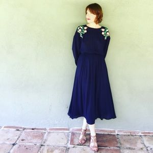 Navy blue maxi dress with open back NWT